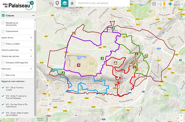 Les circuits sur la carte interactive de la ville de Palaiseau - Cliquez pour l'ouvrir dans une nouvelle fenêtre