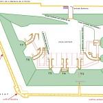 Plan général. En jaune mur de contrescarpes, en vert escarpes, en brun abris pour les canoniers