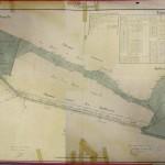 """Plan des acquisitions de terrains pour les Batteries de l'Yvette et de la Pointe avec chemin dit """"couvert"""" entre elles"""